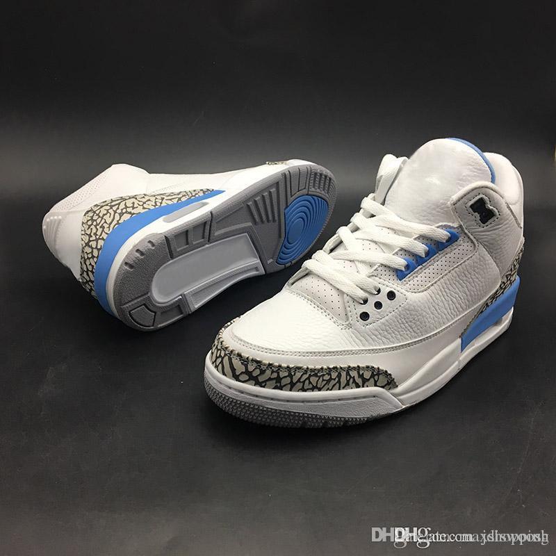 2b6cadf5bd9 Acheter Nouvelles Chaussures De Basket Ball Pour Hommes 3 III UNC  Université PE Bleu Ciment Gris Logo De Marque Jumpman Logo 3S Baskets De  Sport Chaussures ...
