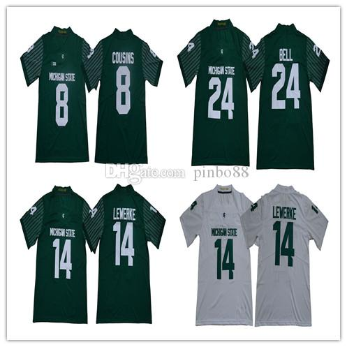 sale retailer 98837 25f42 Mens Michigan State Spartans 8 Kirk Cousins College Football Jersey 14  Brian Lewerke Le'Veon Bell Stitched Legendary Edition Football Shirts