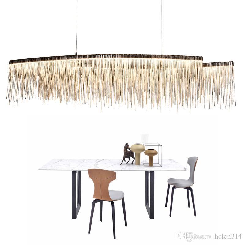 Modern Bedroom Lamp Dining Room Hanging Aluminum Chain Chandelier Led Lustre Living Room Chandeliers Light Fixture Ac110 220v