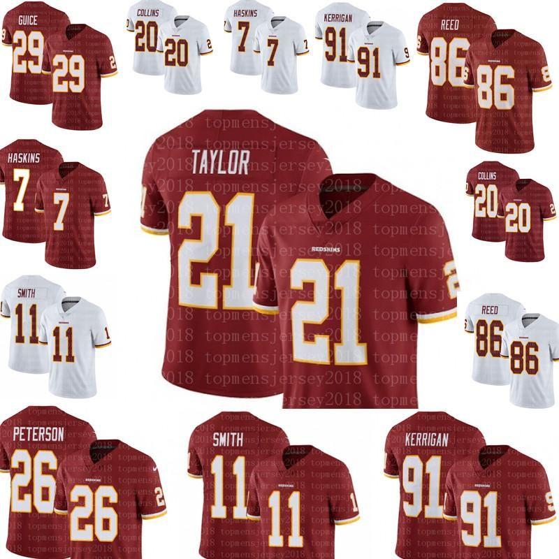 sale retailer 7afbf 9c2ae 21 Sean Taylor Washington Redskins Jersey 26 Adrian Peterson 7 Dwayne  Haskins 29 Derrius Guice 20 Collins 11 Alex Smith 86 Reed