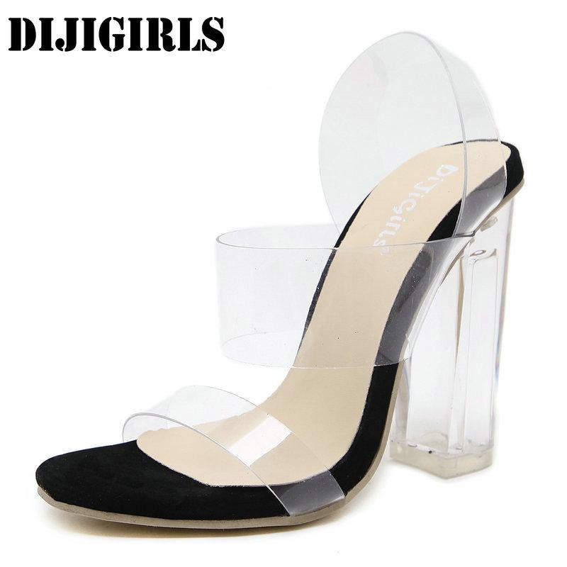 c7853d7dc84 Women Sandals Ankle Strap Perspex High Heels PVC Clear Crystal Square Heel  Sandals Classic Buckle Strap Fashion Shoes Black High Heels Shoes Green  Shoes ...
