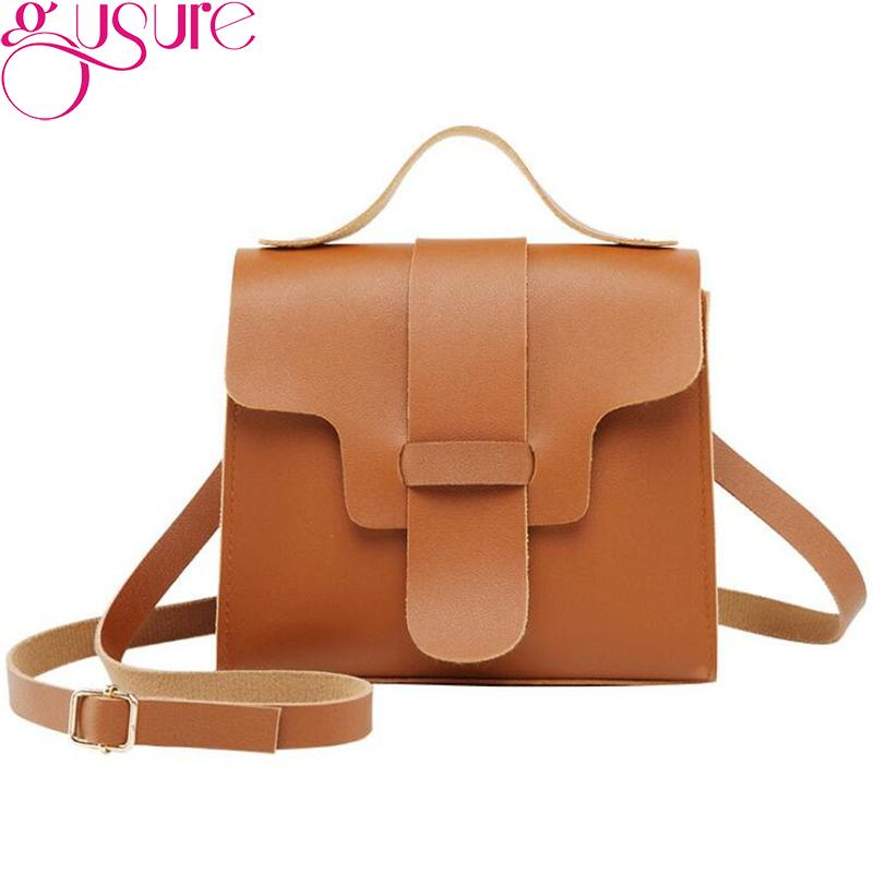 b57c093acb5e0 Gusure Classic Messenger Bag PU Leather Crossbody Bags For Women Retro Solid  Purse Small Bag Girls Shoulder Bolsas Feminina Handbags For Women Mens ...
