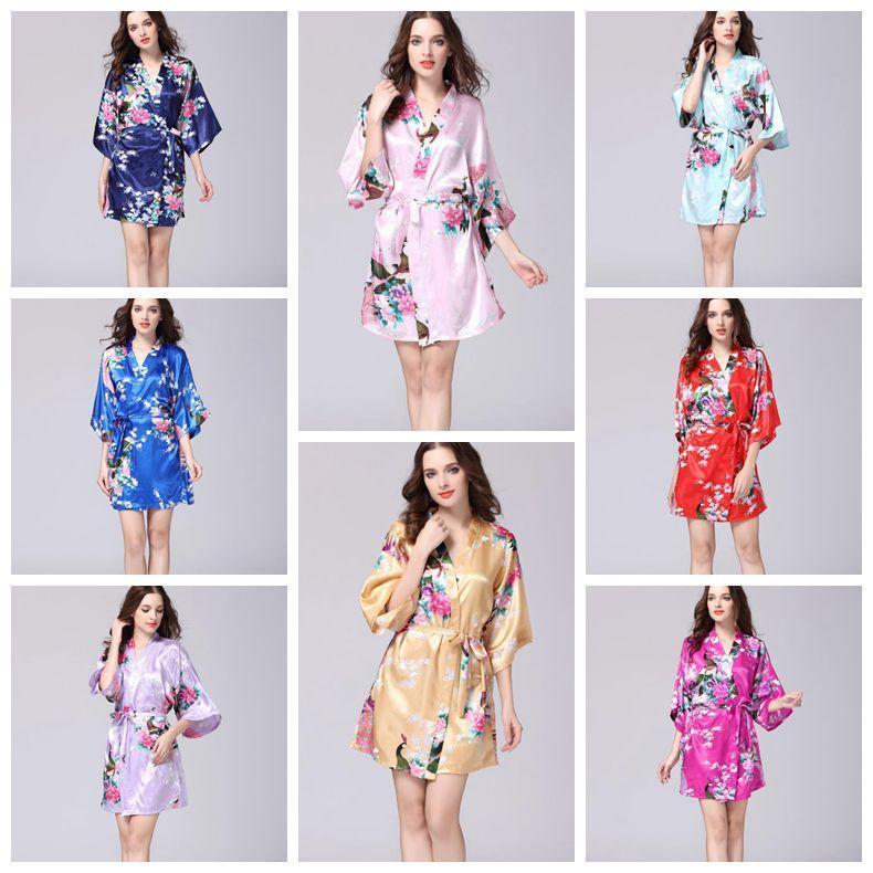 9d7940eff55b45 12 Cores Sexy das Mulheres de Seda Japonesa Quimono Robe Pijama Camisola  Pijamas Quebrado Flor Kimono Roupa Interior Para Casa CCA10956 12 pcs
