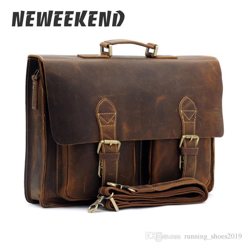 e76fab3394e3 Top Grade Male Men S Vintage Real Crazy Horse Leather Briefcase Messenger  Shoulder Portfolio Laptop Bag Case Office Handbag 1061  30387 Online Bags  ...