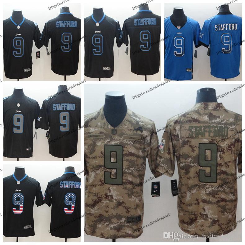low priced 1515f 971b8 2019 Camo Salute to Service Detroit 9 Lions Matthew Stafford Football  Jerseys 9 Matthew Stafford Vapor Untouchable Jerseys S-XXXL