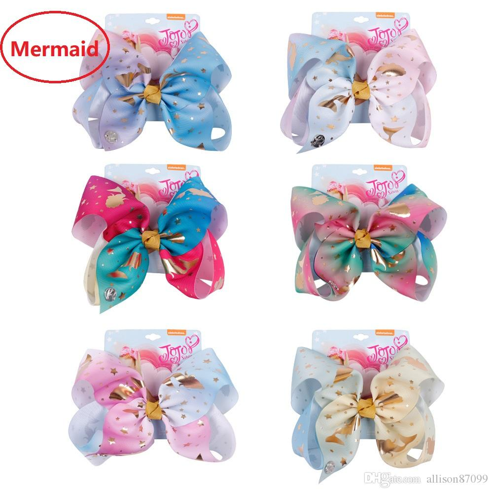 Handmade New Mermaid Hair Bows Barrettes Hair Clips Girl Hair