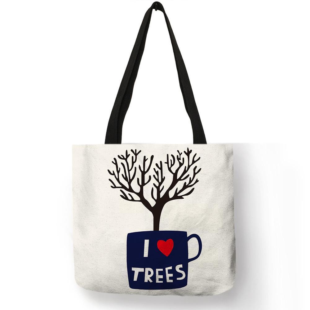 ae938145ce0e Bolsa Femina Life Love Theme Handbag Coffee Bike Clock Tree Letter Printing  Practical Shoulder Bag Girl School Durable Totes Sac