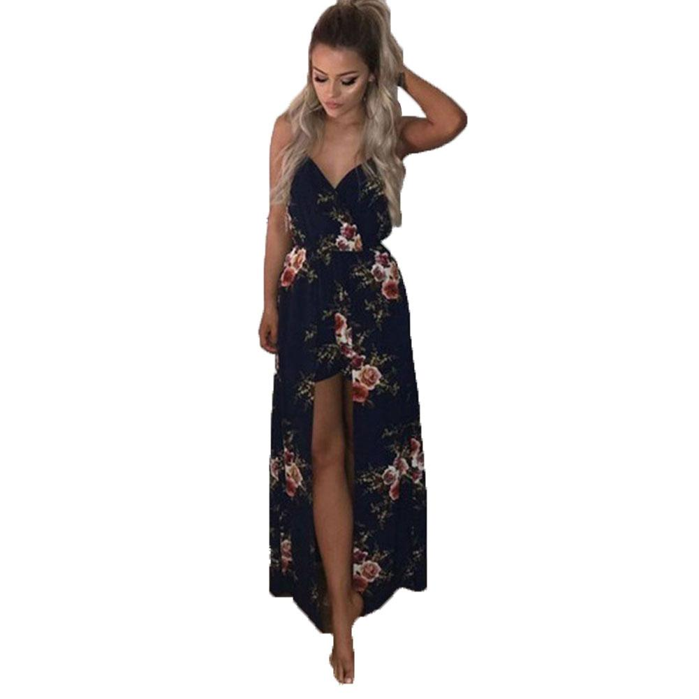 d2845353498 2019 Women Beach Shorts Summer Spaghetti Strap Maxi Dress V Neck Elastic  Waist Floral Jumpsuit Evening Party Culottes From Afternan