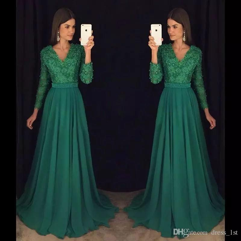 Elegant 2018 Emermaid Green Prom Dresses Long Sleeve V Neck A Line Floor  Length Beaded Lace And Chiffon Evening Gowns Special Occasion Kids Prom  Dresses ... 0c9f5f1cd