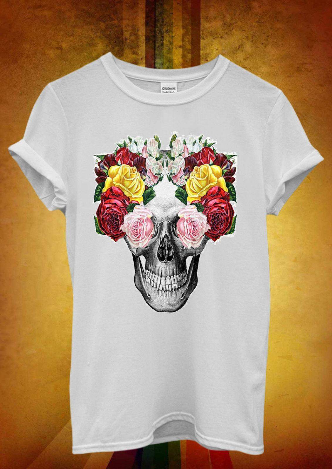 8dbdccb72b934 Floral Skull Roses Vintage Funny Men Women Unisex T Shirt Tank Top Vest  1290 2018 Funny Tee Cute T Shirts Man 100% Cotton Cool Random Graphic Tees  Quirky T ...