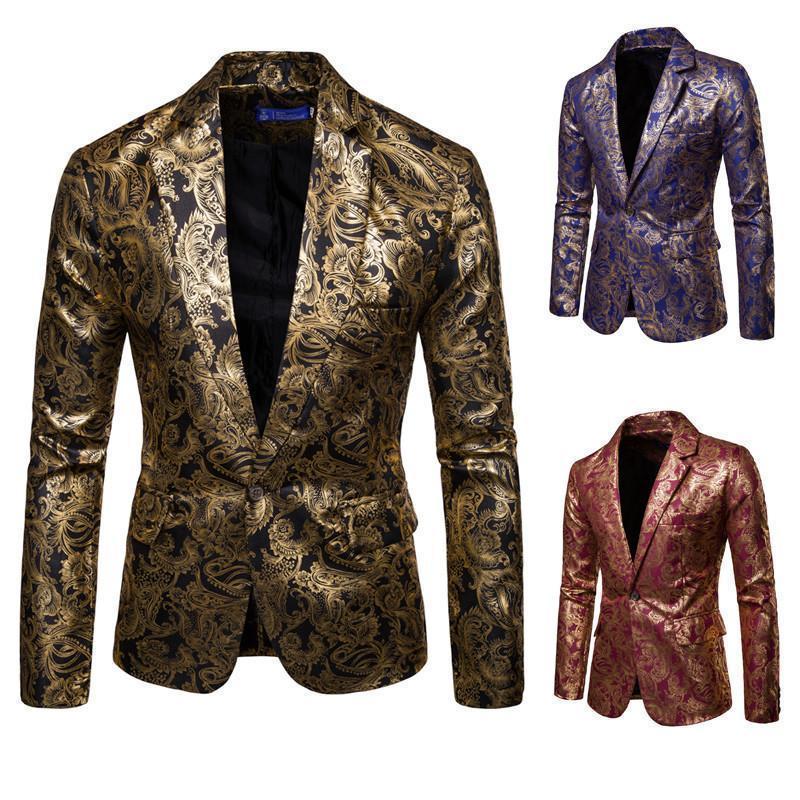 4f0572a45bb2a Satın Al Pop 2019 Sonbahar Kış Erkek Rahat Takım Elbise Altın Damgalama Batı  Blazer Erkekler Kıyafeti Giyim Performans Giyim Gelgit Marka Kıyafetler, ...