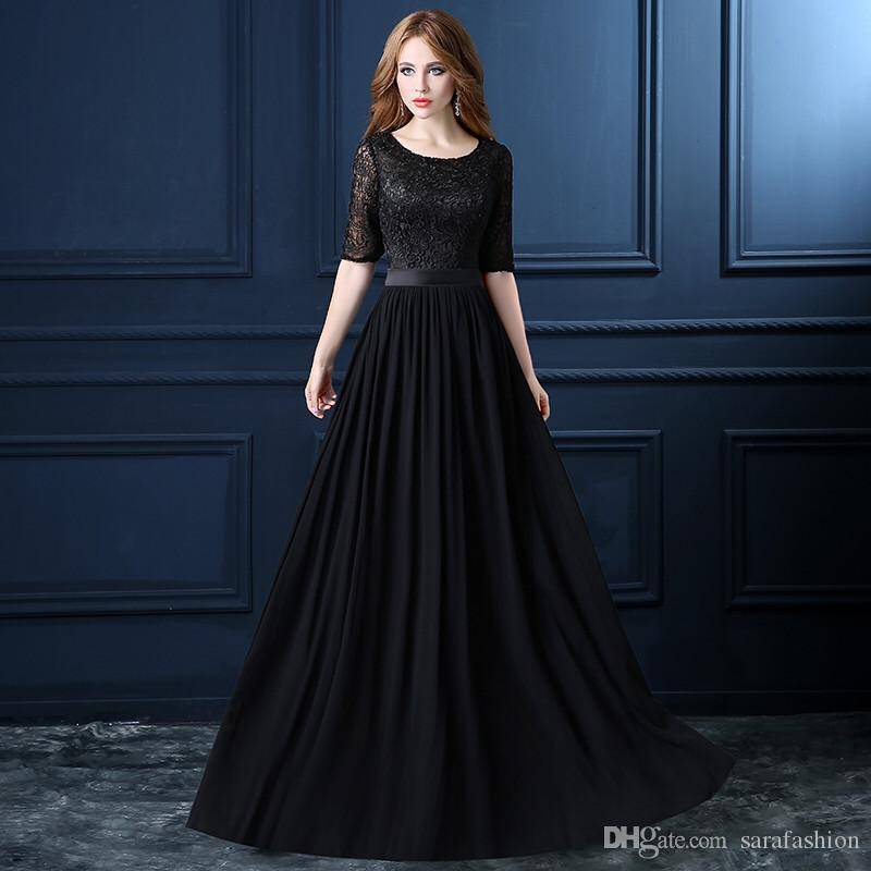 Half Sleeves Chiffon Long Bridesmaid Dresses with Lace 2019 Black Red Peach Floor Length Formal Dress vestido de noche