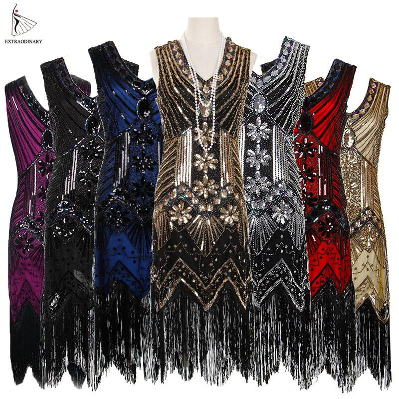26f57779605 2019 Women 1920 S Vintage Great Gatsby Dress Sequins Dress V Neck ...