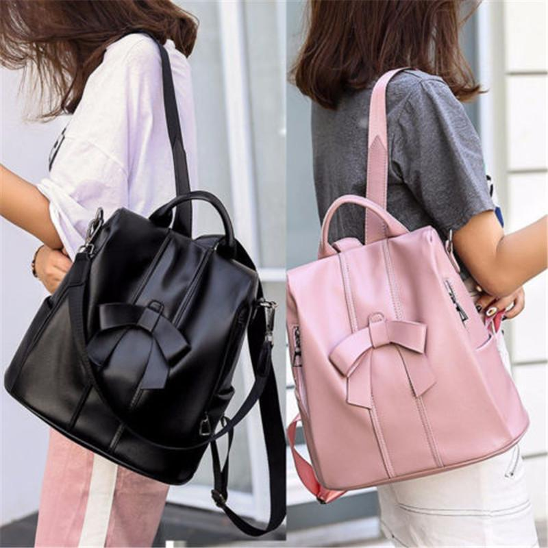 0c41d6ed80 Women Girls Mini Faux Leather Backpack Rucksack School Bag Travel Casual  Solid Zipper Soft Bow Backpack Backpack Brands Rucksack Backpack From  Keviney