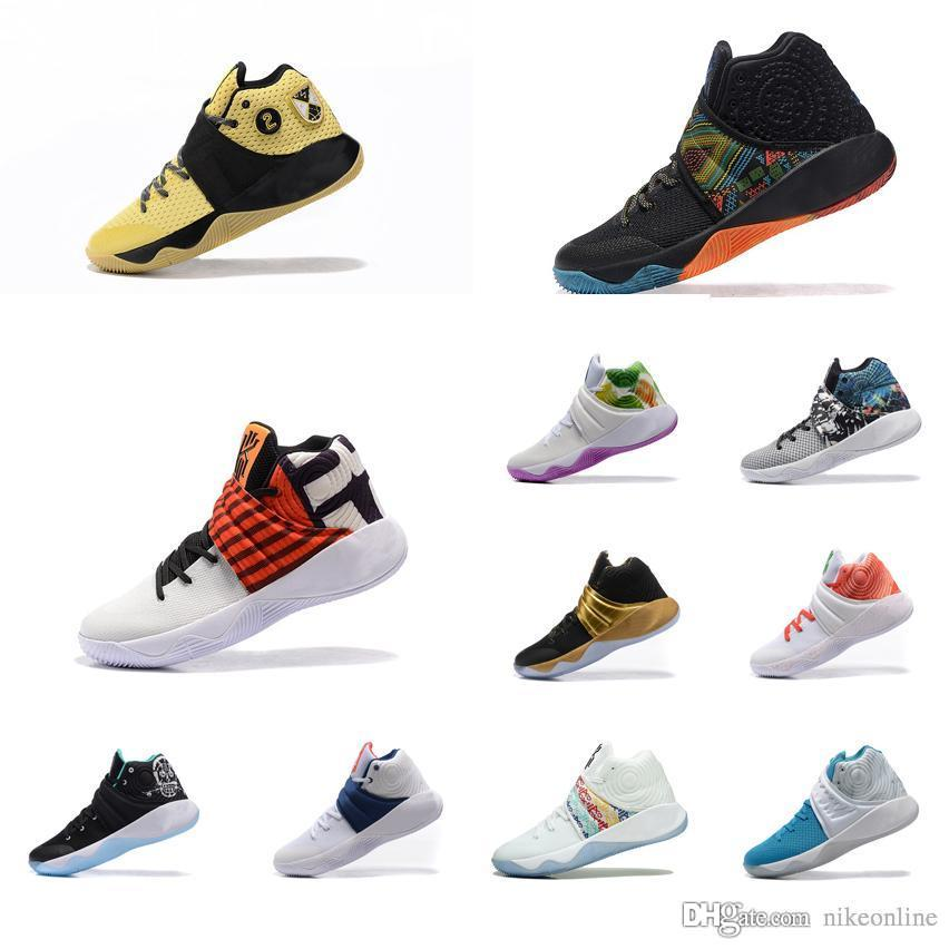 official photos 32071 72a01 Cheap Mens Kyrie Irving 2 basketball shoes Gold Black Gold bhm christmas  Easter white air flights sneakers tennis for sale with box