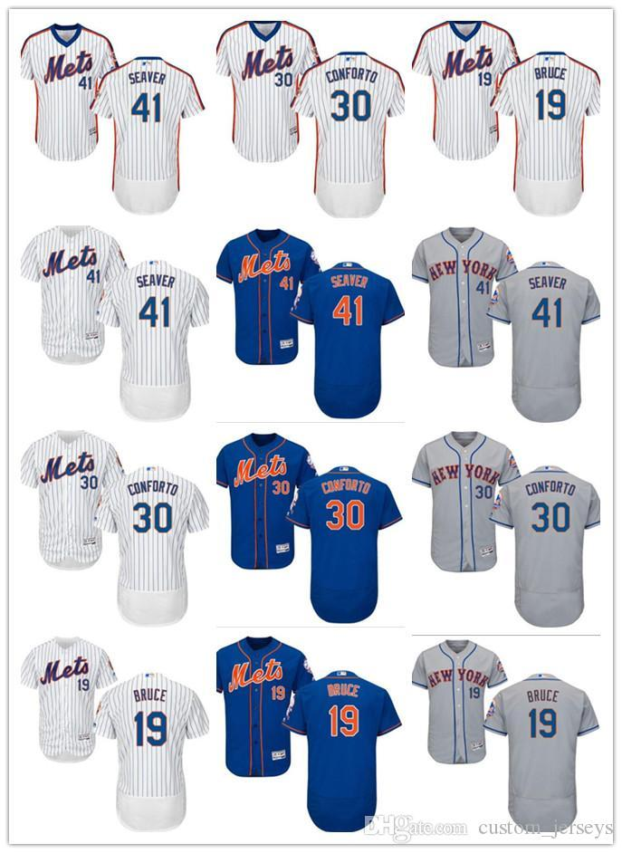 official photos 5485e ab3c4 Men women youth New York custom Mets Jersey #19 Jay Bruce 30 Michael  Conforto 41 Tom Seaver Blue Grey White Baseball Jerseys
