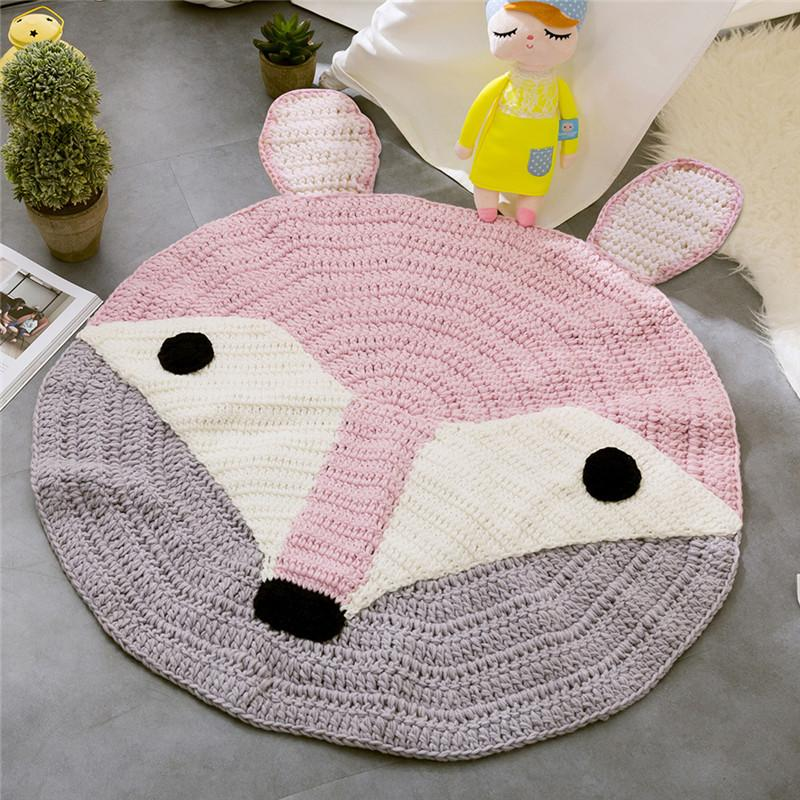 Pink Fox Ears Pattern Crochet Round Rugs And Carpets For Children Room Decoration Kids Baby Blanket Game Play Knitting Mat Soft
