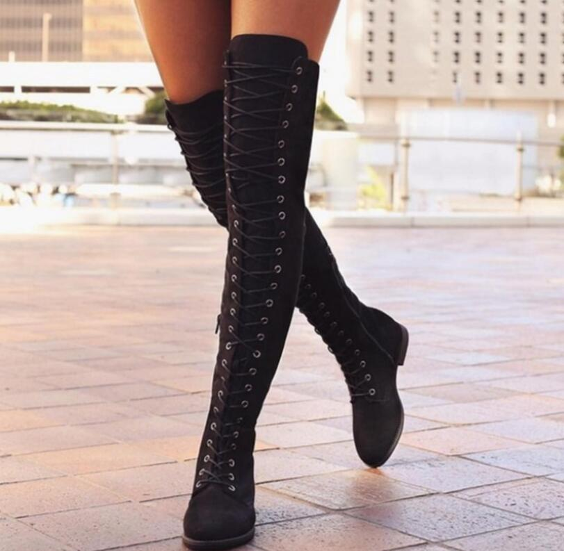 3ac0ebeaaa9 XCZJ 2018 New Women S Fashion Womens Knee High Boots Flat Ankle Snow Dance  Lace Up Canvas Long Boots Zapatos De Mujer Botas Ladies Boots Cheap Boots  From ...