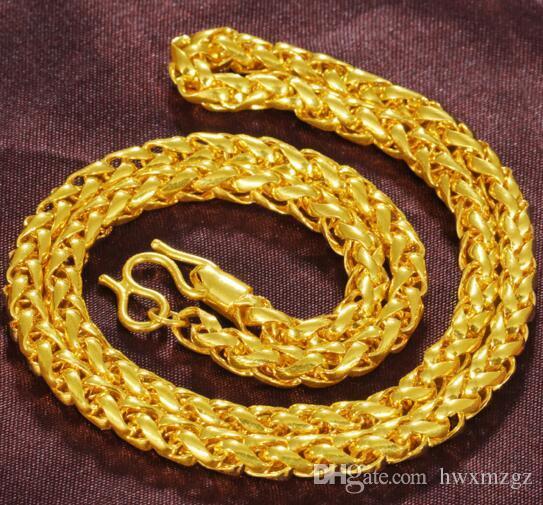 Pirinç kaplama 18 K altın Küba altın twisted kırbaç kolye Vietnamca kum  altın kolye