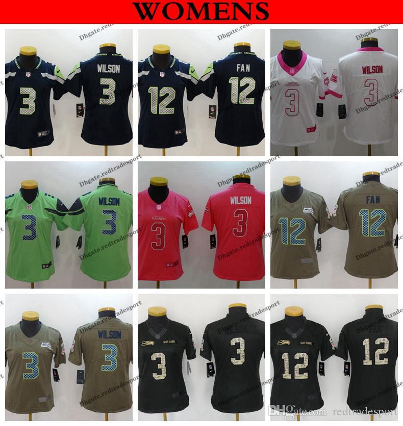 buy popular 612ea 57011 Womens Seattle 12th Fan Seahawks 2019 Camo Salute to Service 3 Russell  Wilson Navy Blue Girls Football Jersey