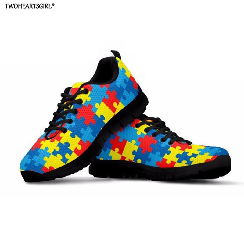 20d84dd022b561 Twoheartsgirl Woman Breathable Sneakers World Autism Awareness Women Lace  Up Zapatos De Mujer Zapatillas Female Shoes Chaussures Red Shoes Footwear  From ...