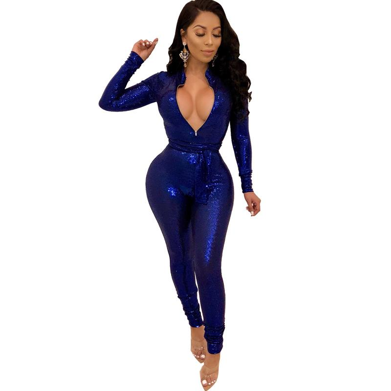 c7282ccb5c 2019 2019 Spring Women Sequin Jumpsuit Sexy V Neck Bodycon Skinny Sparkle  Glam Bodysuit Glitter Long Sleeve Romper Party Club Catsuit From Alfreld