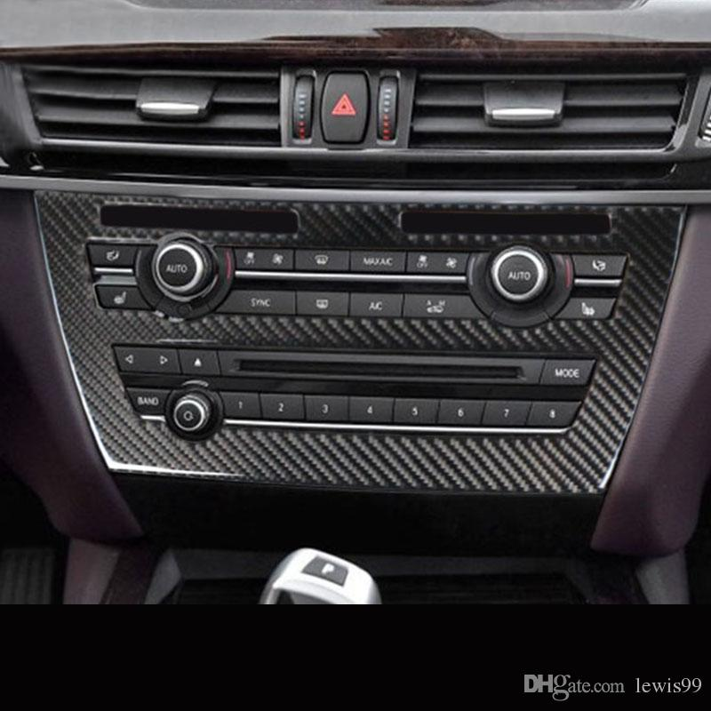 Carbon Fiber For Bmw X5 X6 E70 E71 F15 F16 Interior Trim Air Conditioning Cd Control Panel Car Styling Stickers Covers Decoration Trim