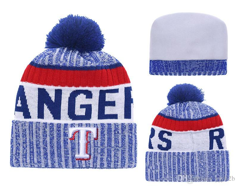 2c826958113f5 NEW Men s Texas Rangers Knitted Cuffed Pom Beanie Hats Striped ...