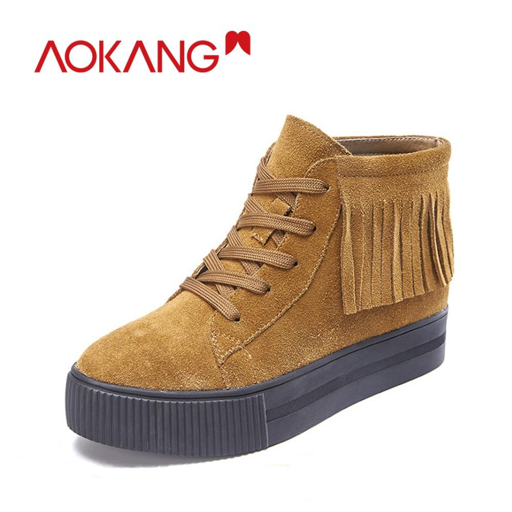 63618235ab00c AOKANG 2018 New Women Winter Boots Shoes Flat Ankle Low Thick Heel Cow Suede  Fringes Lace Up Fashion Ladies Solid Casual Shoes Ankle Boots For Women  Mens ...