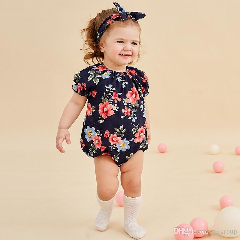 cd0ae3430 INS New High-end Cotton Toddler Baby Girl Floral Rompers with Hairband 2pcs  Set Ruffles Flower Printing Jumpsuit Newborn Onesies for 3-18M