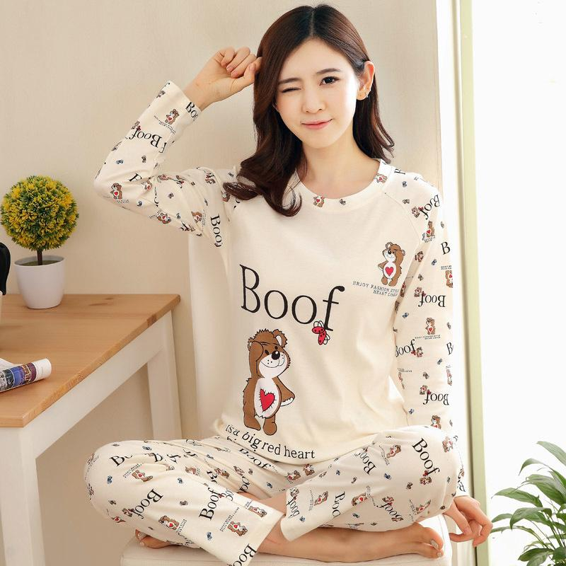 0f4e2f720e Spring Autumn Women Pyjamas Cartoon Printed Pajamas Set Thin Pijamas ...