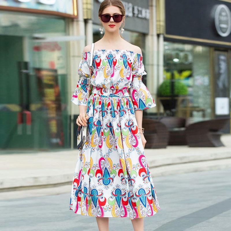 19121e3061 2019 Spring Summer Suit Women 2Piece Top Skirt Set Fashion Designer Slash  Neck Floral Print Crop Top+Midi Skirt Set Bohe Twinset