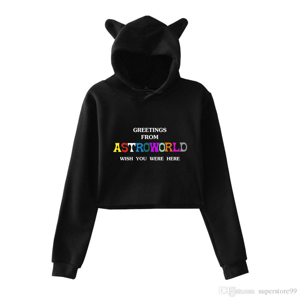 35b80cc235b2 2019 Travis Scott Astroworld Long Sleeve Cropped Hoodies Sweatshirt Women  Sexy Fashion Cat Ear Hooded Pullover Crop Cool Casual Tops Clothes From ...