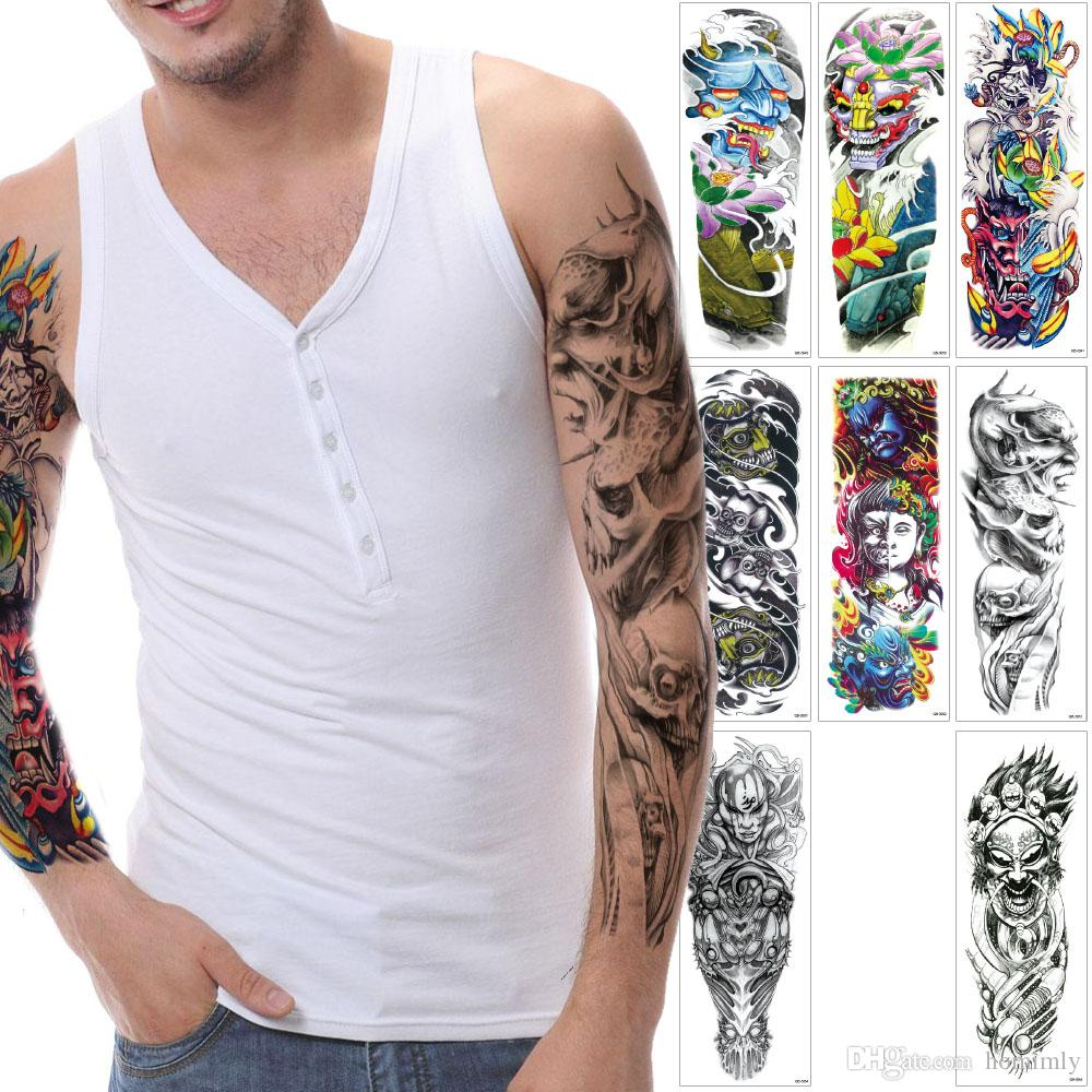 Fashion Large Devil Temporary Tattoo Lotus Flower Buddha Fish Designs Sleeve Leg Back Full Arm Body Art Tattoo Sticker for Man Woman Durable