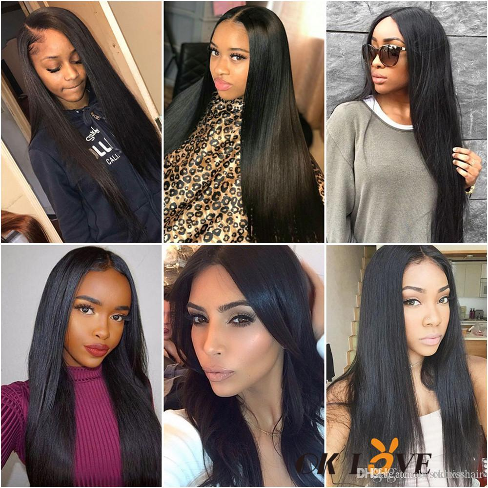 Human Hair Bundles With Frontal Deep Wave Body Wave Straight 8-30 Inch Hair Extension 3 Bundles With 13*4 Frontal Free Part Natural Color
