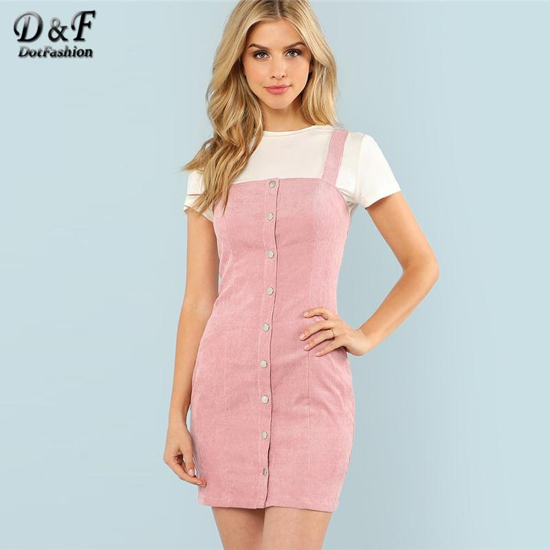 Dotfashion Button Up Strap Form Solid Dress 2018 Summer Sleeveless Sheath Pinafore Dress Women Pink Slim Short Preppy Dress Y19012201