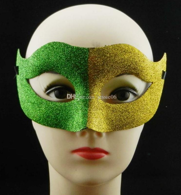 New carnival fans mask gold powder painted half face two-color mask plastic shiny Halloween Christmas Ball Party