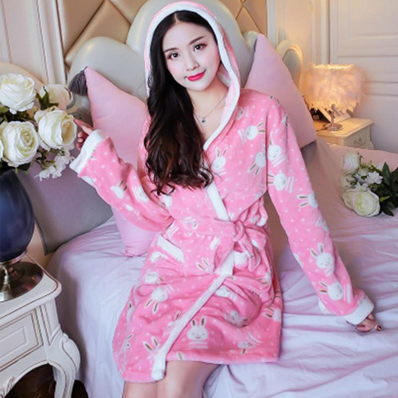 Bathrobe Women Kimono Hoodie Sleepwear Trenchcoat Caftan Stitch Flannel Robe Long Sleeve Print Sexy Flower Warm Big Size Pyjamas