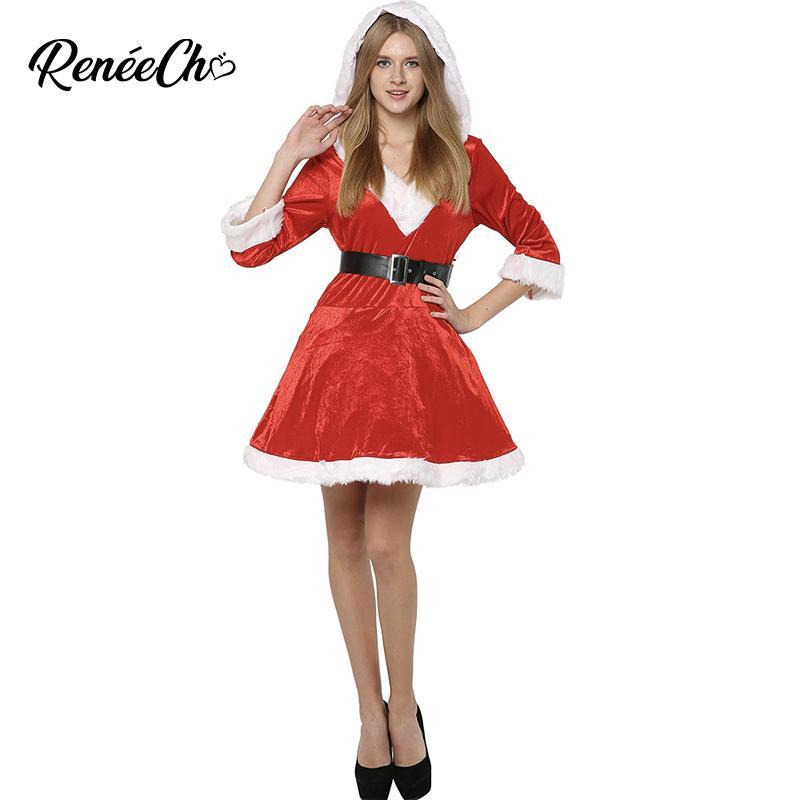 Christmas Costume Women Sassy Mrs Claus Costume Red Christmas