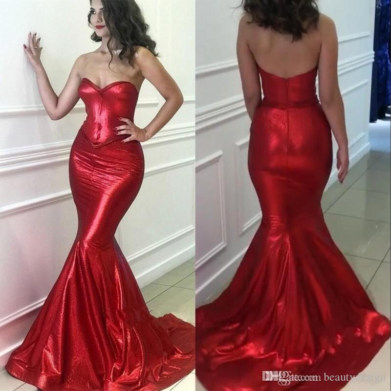 28108eb23d18 Mermaid Red 2019 Prom Dresses Shinny Sequins Beading Formal Evening Gowns  Sweetheart Neck Zip Back Floor Length Custom Made Prom Style Dresses Proms  Dresses ...