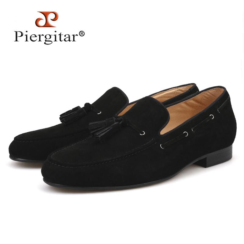 04e7afa4f7 Piergitar 2019 Handmade Men Suede Shoes With Black Big Tassel Party And  Wedding Men Loafers Men S Dress Shoes Smoking Slippers Cheap Shoes Shoes  For Women ...