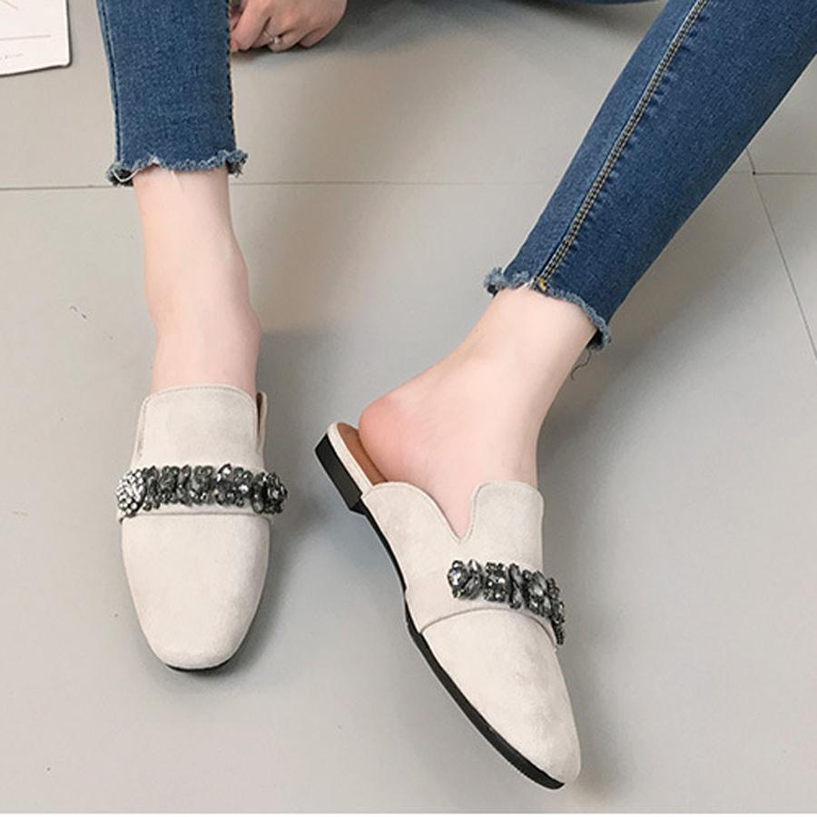 Crystal Rhinestone Luxury Designer Mules Shoes Women S Slipper Square Toe  Leisure Ladies Slides Footwear Female Lazy Slippers Boys Slippers Acorn  Slippers ... e09ed19653eb