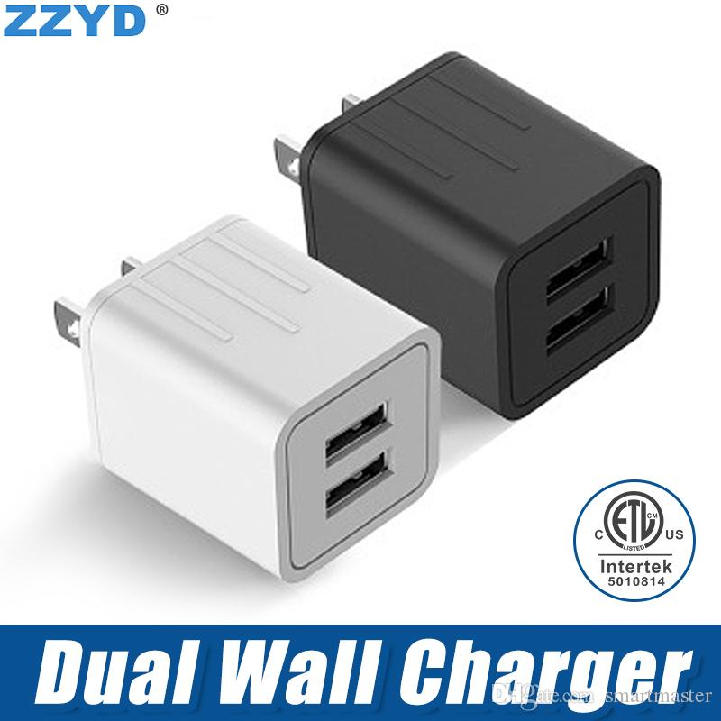 Chargeur Portable Universel ZZYD Dual Wall Charger 2U pour iPhone X Xs 7 8 Plus Samsung Galaxy Note 9