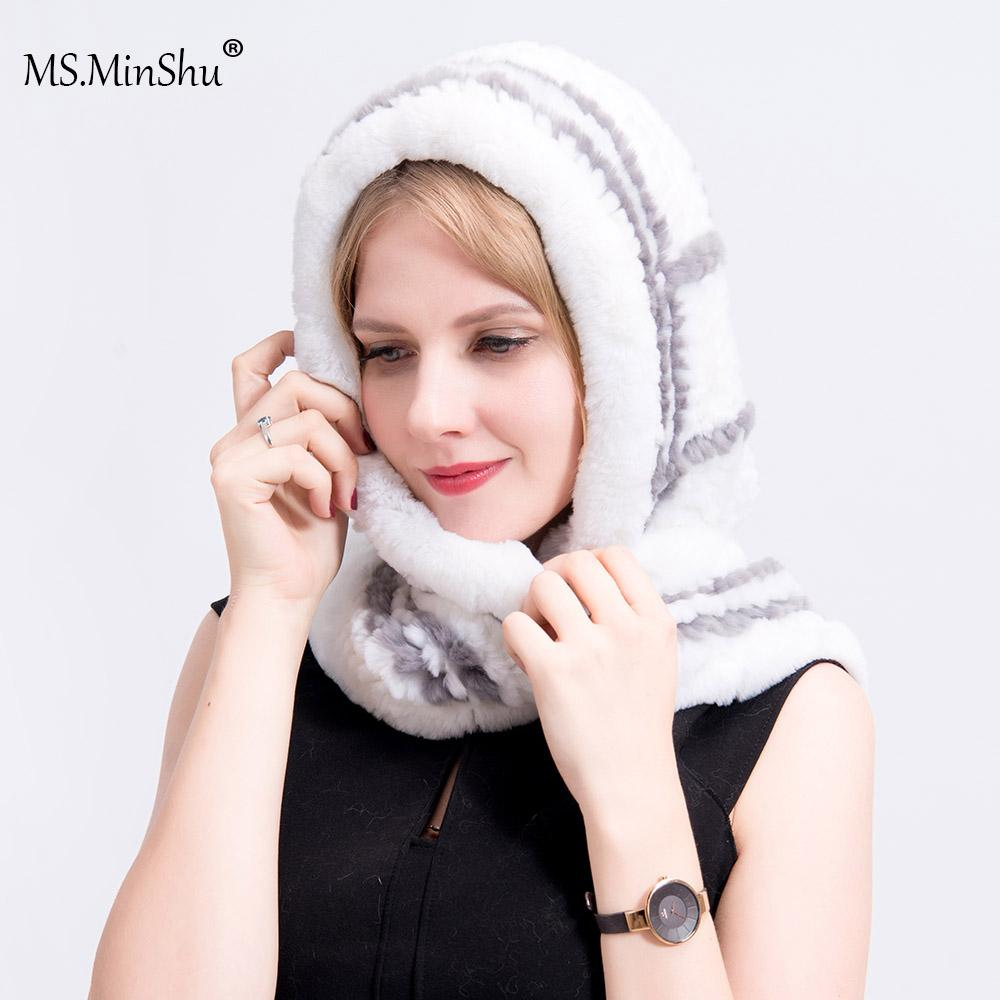 166b19bda46 MS.MinShu Winter Hat Real Fur Hat with Scarf Women Cap Plaid Real ...