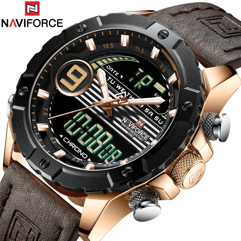 3d96f39c999 Compre NAVIFORCE Homens Esporte Relógios Masculinos Top Marca De Luxo De Quartzo  Relógio Digital De Couro À Prova D  Água Do Exército Relógio De Pulso ...