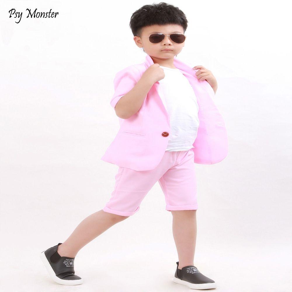 c11aef8933131 Brand Summer Baby Boys Birthday Dress Formal Suit Jacket Pants Gentleman  Boys Blazer Wedding Party Costume Clothes Set