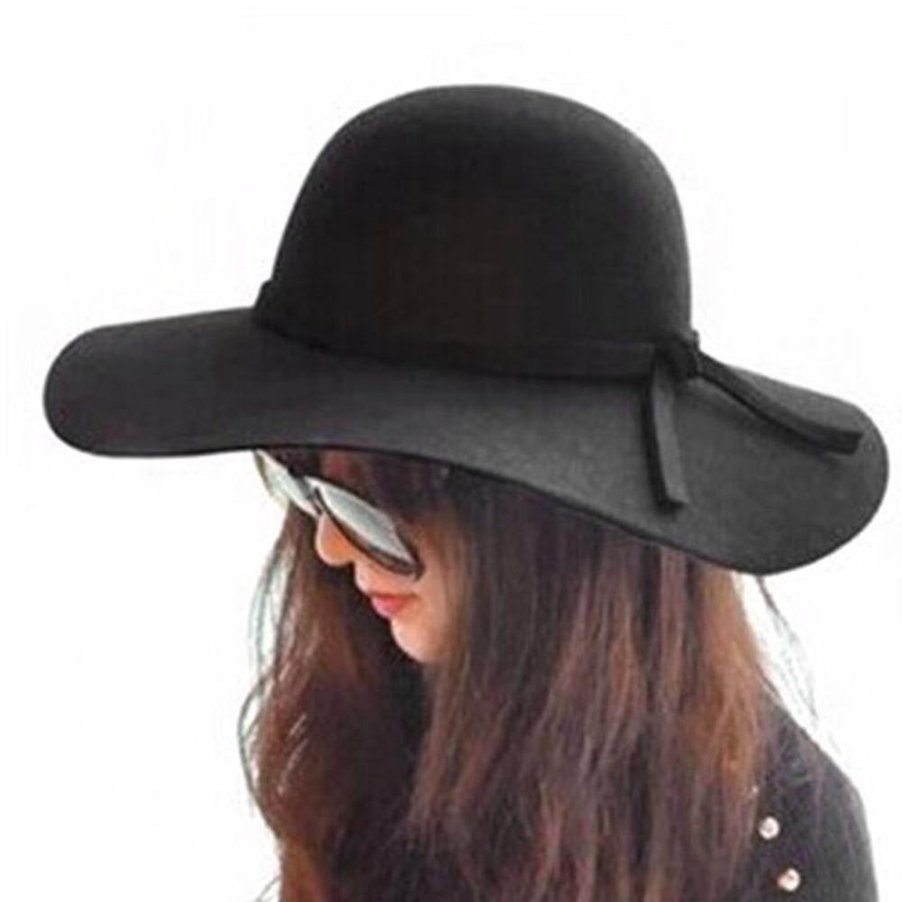 c945129ef946f Wide Brim Sun Hats Womens Summer Autumn Felt Fedora Bucket For Women With Big  Head Female Waves Large Brim Sunbonnet Fedoras C2 C18122501 Bailey Hats  Scrub ...