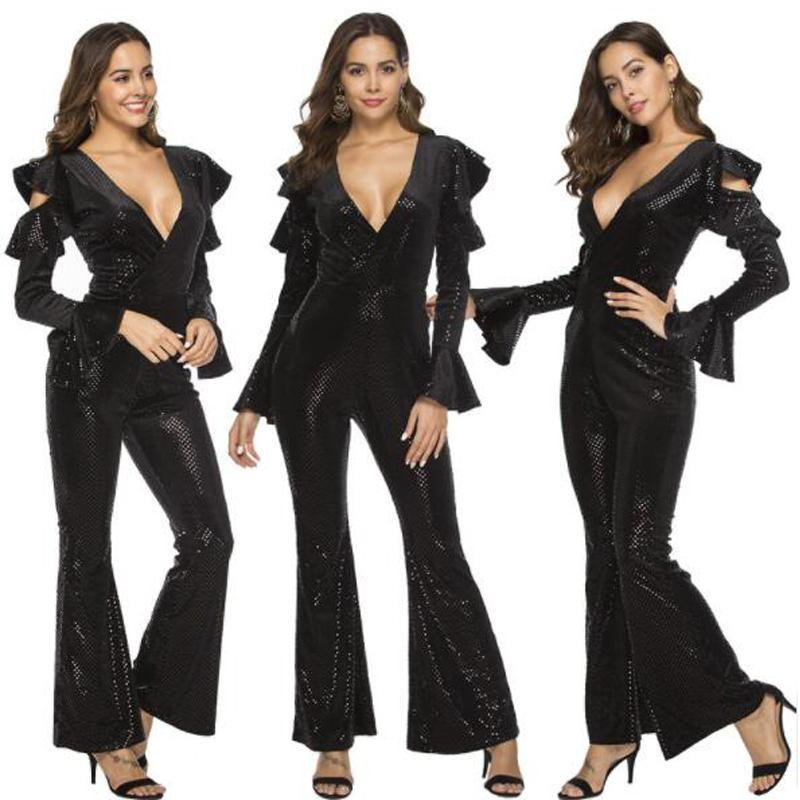 d1a8b73364bf 2019 Women S Jumpsuit 2019 Spring New Strapless Tight Sexy Deep V Sequined Jumpsuit  Women Clothes Dresses For Womens From Newdesigner03