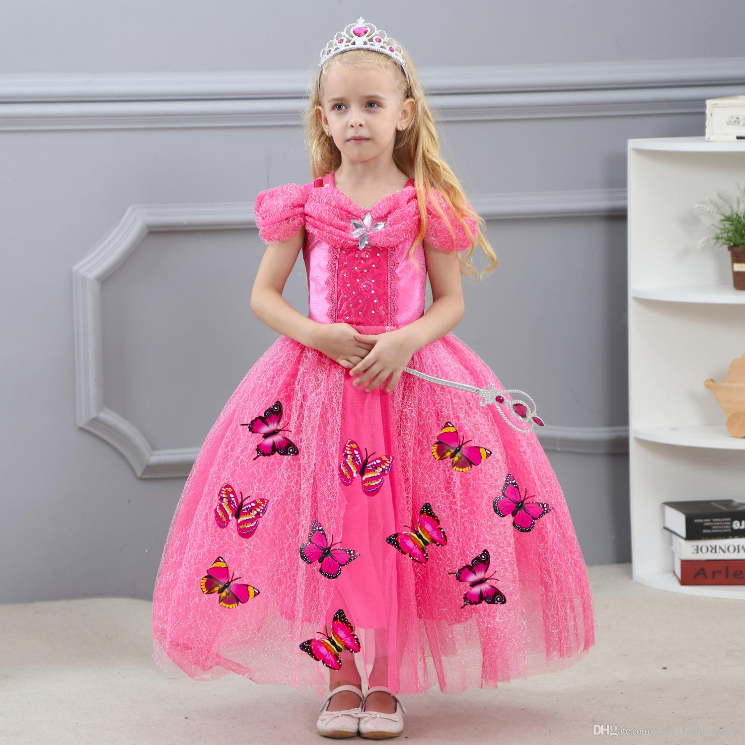 66ddd69ebba18 1pcs 4 Colors 2019 Girls cinderella gowns Dress blue butterflies Kids  Easter Halloween Diamond Cosplay costumes Clothing Party Formal Dress