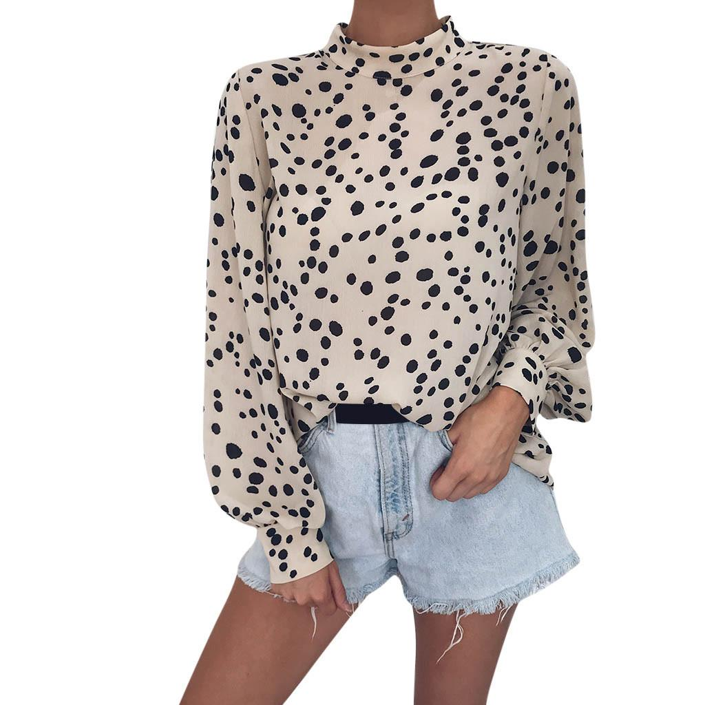 1d9f4e6bc271b 2019 Leopard Print Blouse Women Long Sleeve Loose Keyhole Back High Neck  Shirt Modern Lady Casual Tops  10 From Baiqian